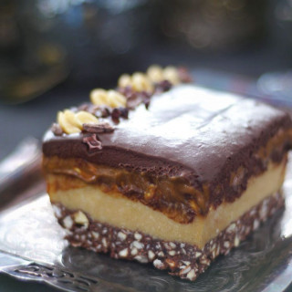 Layered Caramel Nougat Chocolate Slice