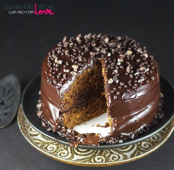 Gluten-Free Vegan Sweet Potato Cake with Chocolate Pudding Frosting {Refined Sugar-Free}