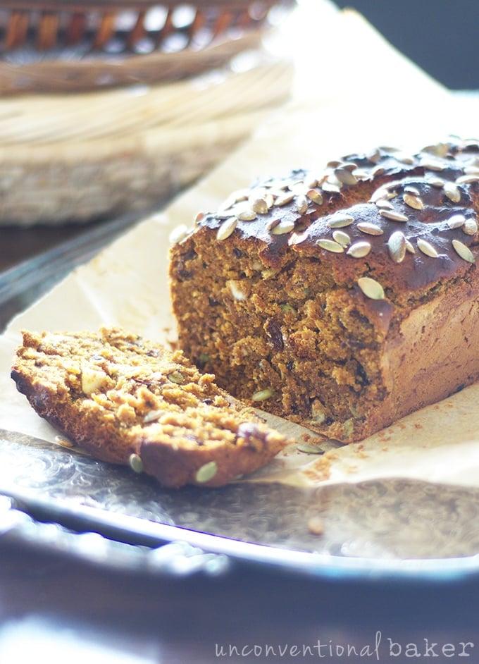 Vegan and Gluten-Free Pumpkin Bread {Refined Sugar-Free}