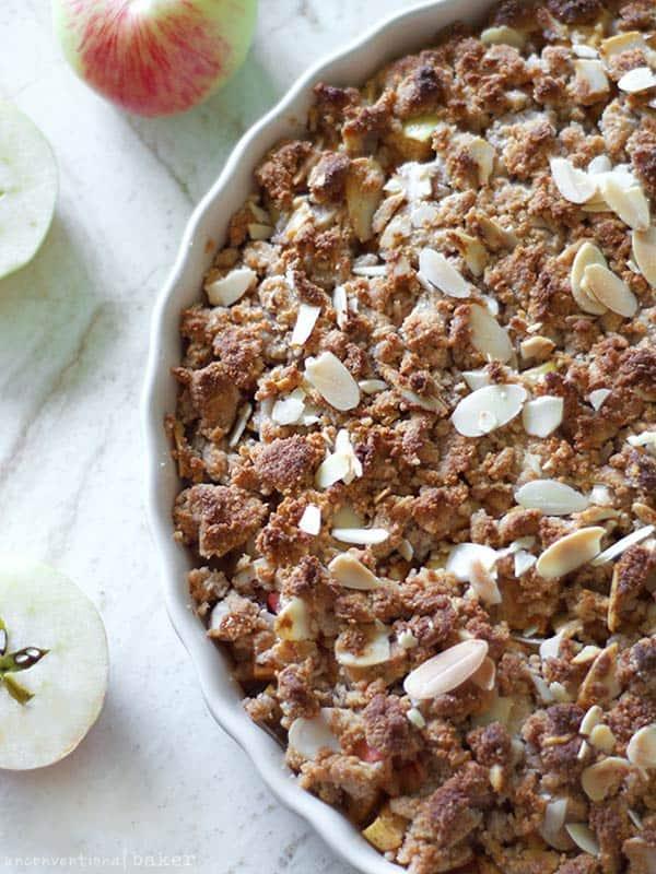paleo, vegan, and gluten-free apple crumble