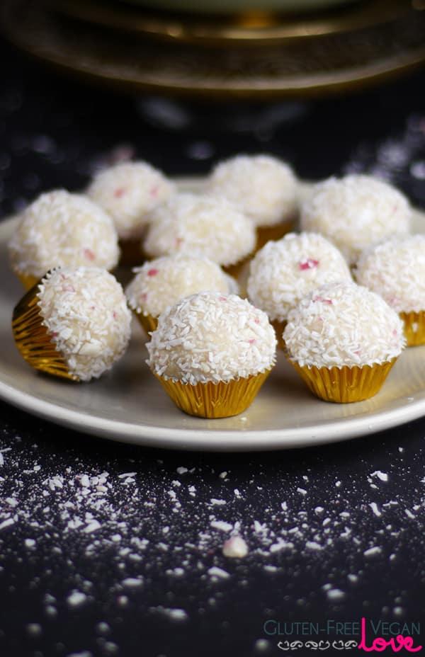 Gluten-Free Vegan Candy Cane Snowballs Recipe {Think Raffaellos, but healthier ;-) }