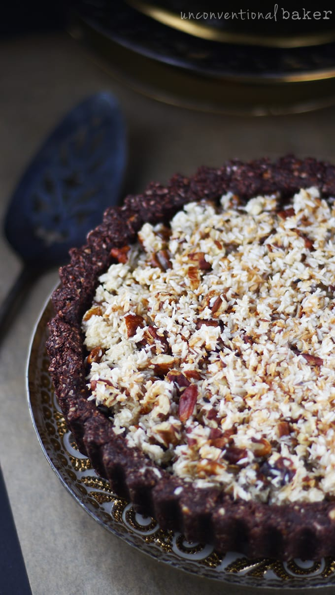 Raw Vegan German Chocolate Pie {Gluten-Free, Paleo, Refined Sugar-Free}
