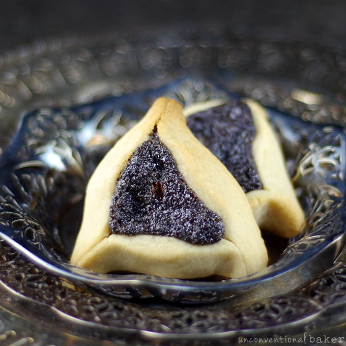 gluten free vegan hamantaschen cookies with poppy seed filling
