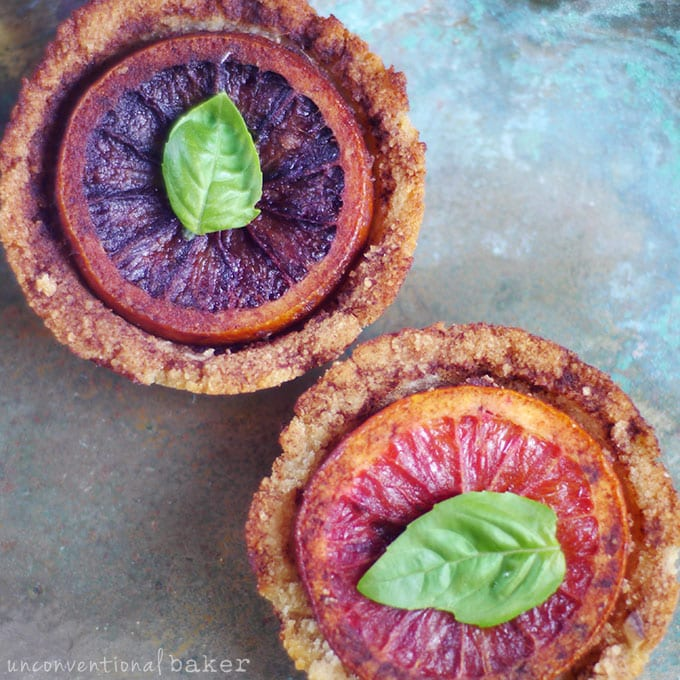 Blood Orange Tarts with Salted Chocolate and Basil {Vegan, Paleo, Gluten-Free, Refined Sugar-Free, AIP-Friendly}