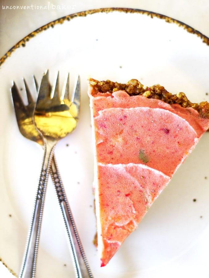 Raw Strawberry Papaya Ice Cream Tart {Vegan, Gluten-Free, Paleo, AIP, SCD, Refined Sugar-Free, Oil-Free, Nut-Free}