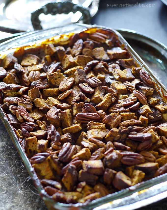 Easy Peasy Pumpkin Spice Bread Pudding {Free from: Gluten, Dairy, Eggs, Refined Sugar, oil, soy and corn, and with a nut-free option. Full of: awesome!}