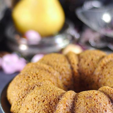 Pear Cake with a Caramel Sauce {Free from: Gluten, Dairy, Eggs, Refined Sugar, and Oil}