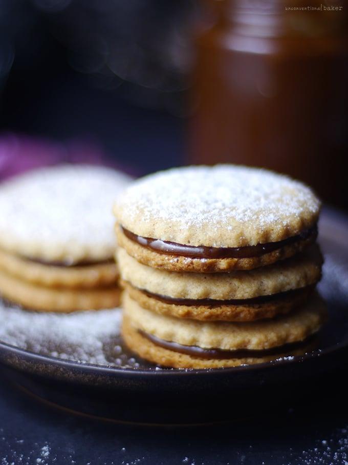 Alfajores / Dulce de Leche Sandwich Cookies {Free from: gluten & grains, dairy, eggs, and refined sugar}
