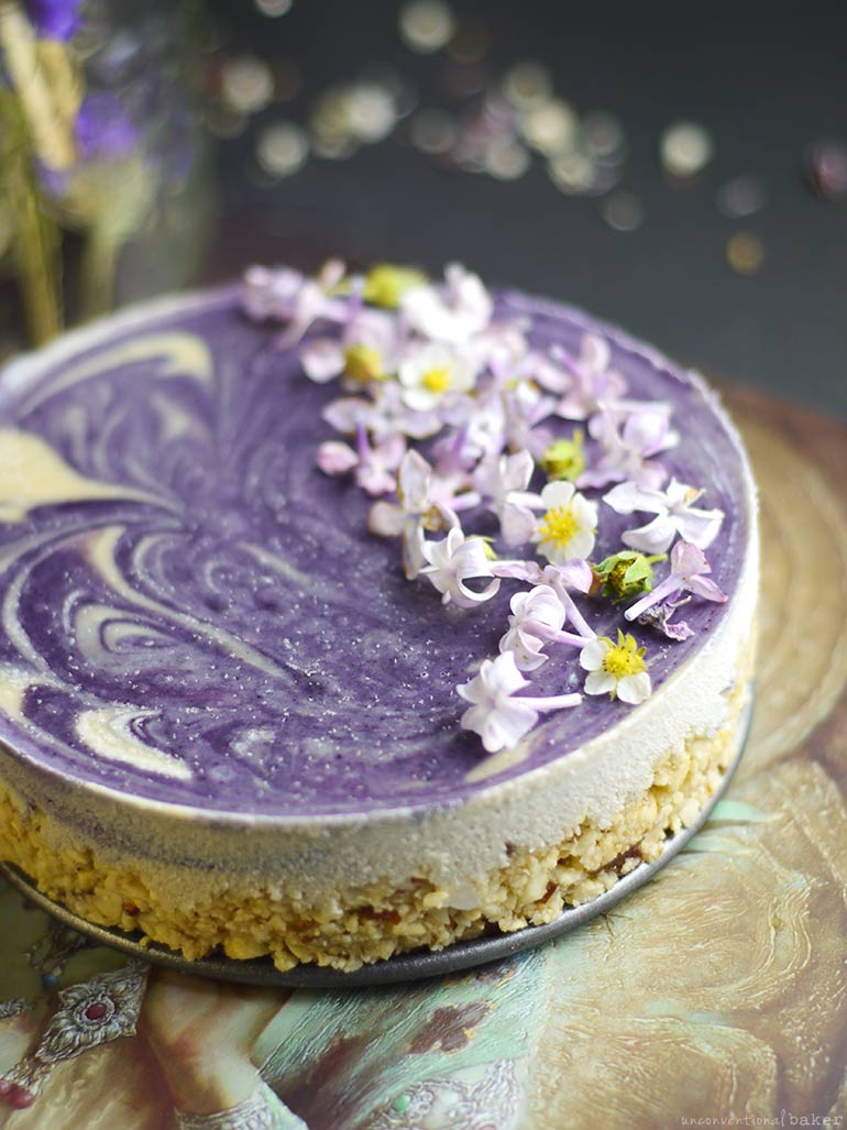 Lilac Dream Cheesecake (Raw & Free From: gluten & grains, dairy, and refined sugar)