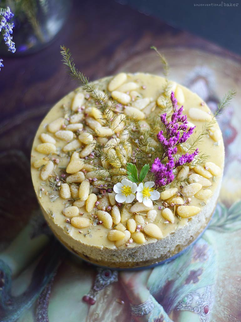 Tarragon Lime Pine Nut Cheesecake (Raw & Free From: gluten & grains, dairy, refined sugar, and nuts)