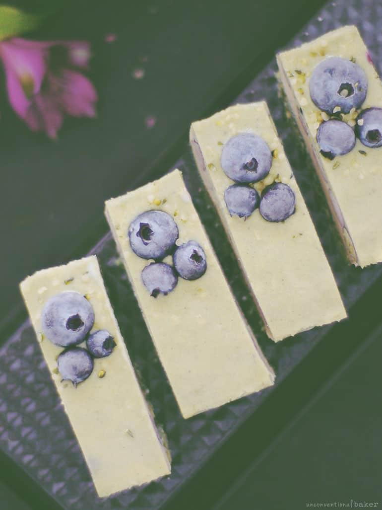 Raw Blueberry Spirulina Cheesecake Slice (Free From: gluten & grains, dairy, refined sugar)