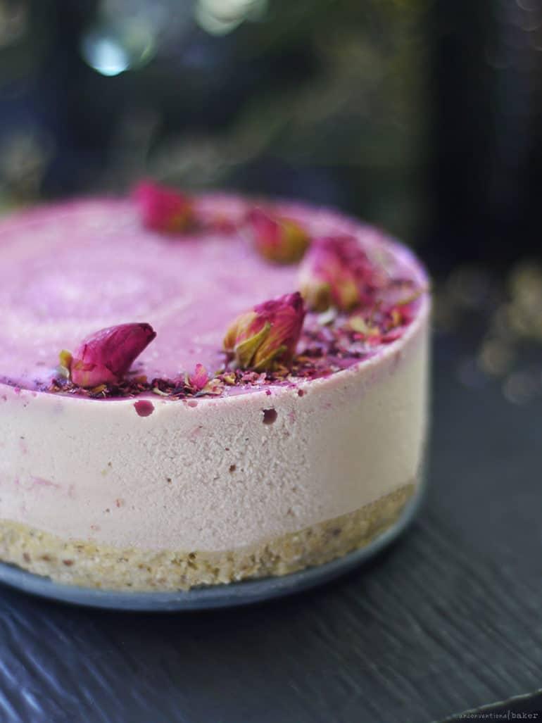 Pink Pitaya and Rose Raw Cheesecake (oil-free, dairy-free, grain-free, refined sugar-free)