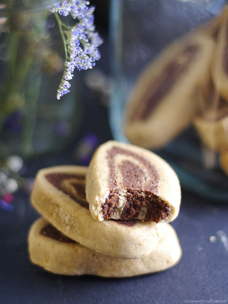 black and white pinwheel cookies -- vegan and gluten-free, also free from refined sugar and oils
