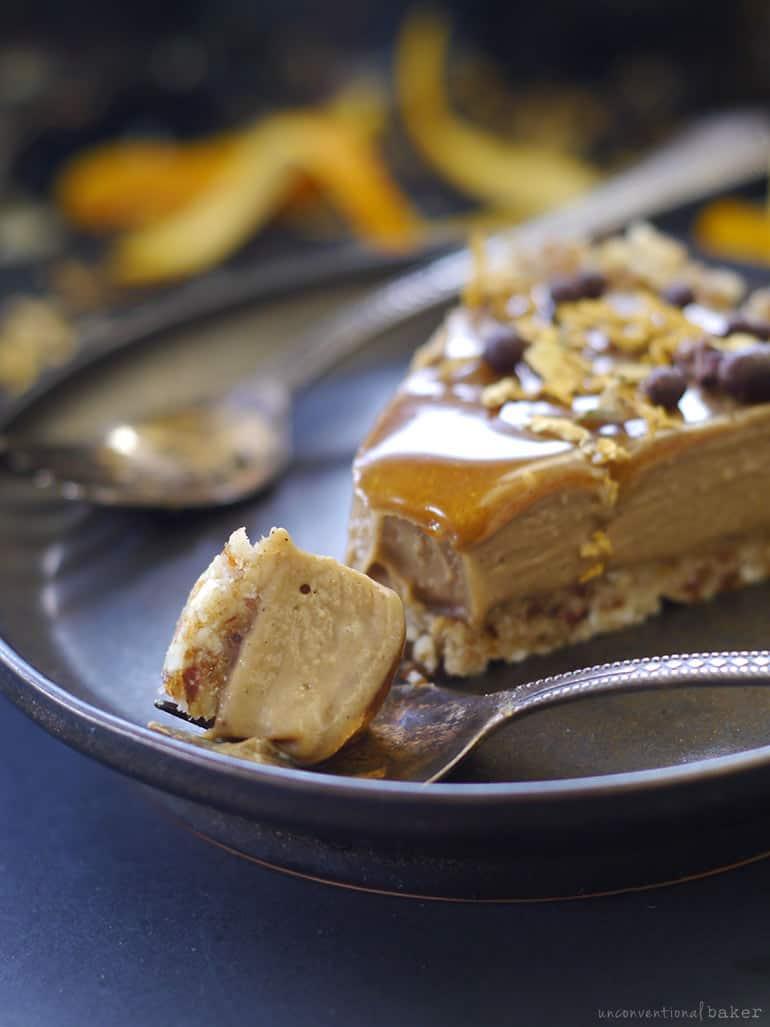 raw vegan orange caramel tart recipe (dairy-free, gluten-free, grain-free)