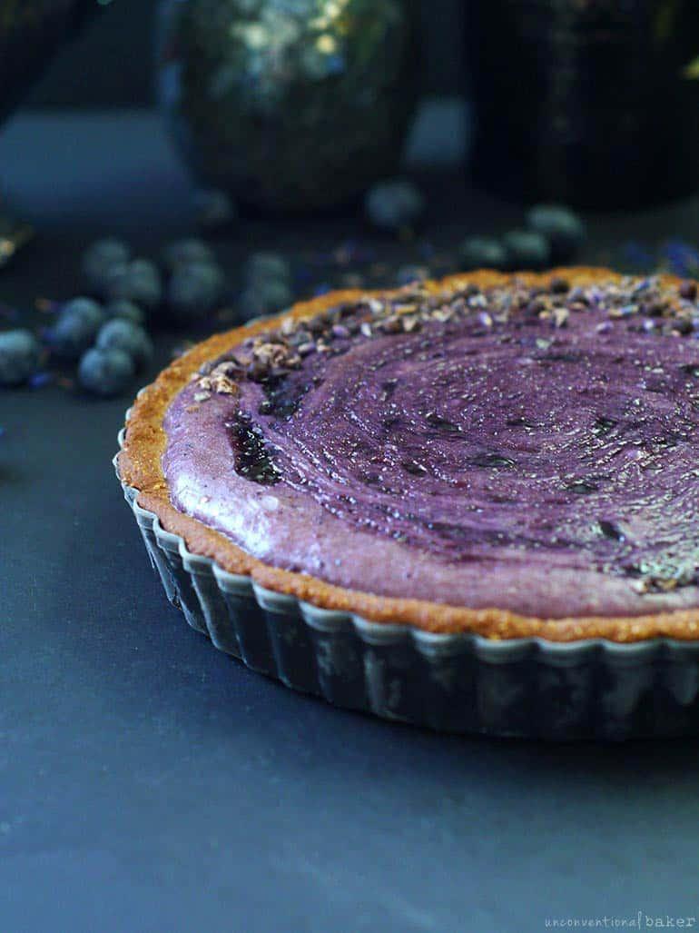 vegan gluten-free blueberry custard pie
