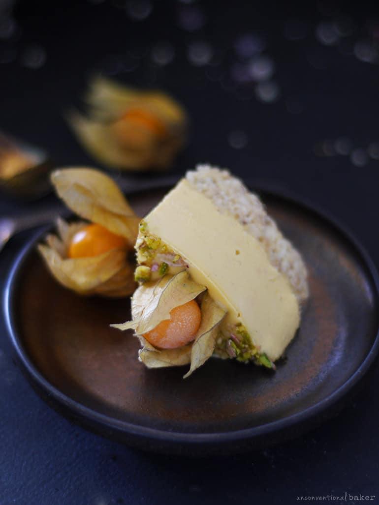 gluten-free raw vegan cheesecake slice made with physalis berries