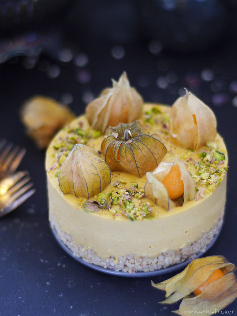 raw vegan physalis cheesecake recipe, gluten-free and grain-free, refined sugar-free