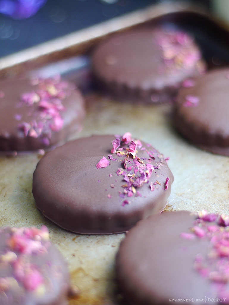 chocolate covered cookies on a tray vegan and gluten-free