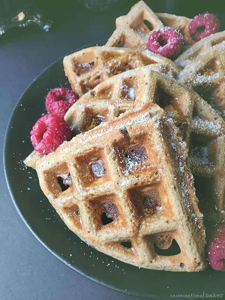 gluten-free vegan buckwheat waffles with raspberries