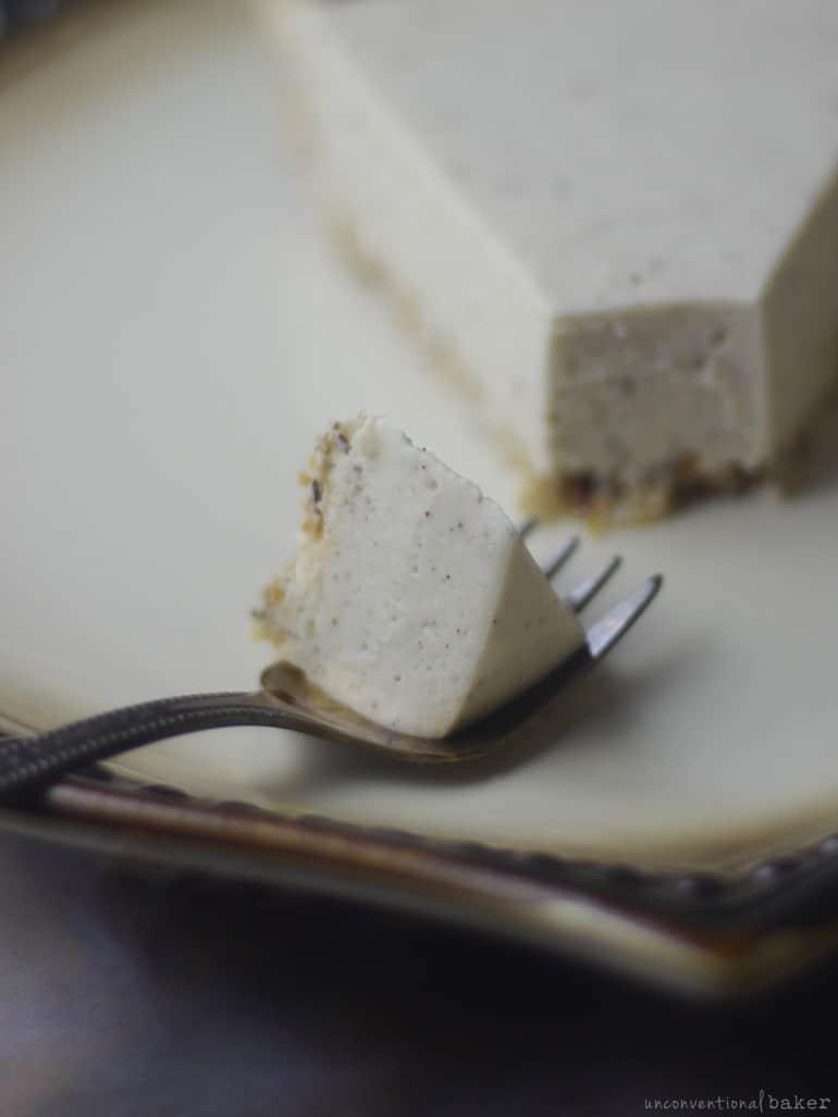 bite of vegan coconut cream pie
