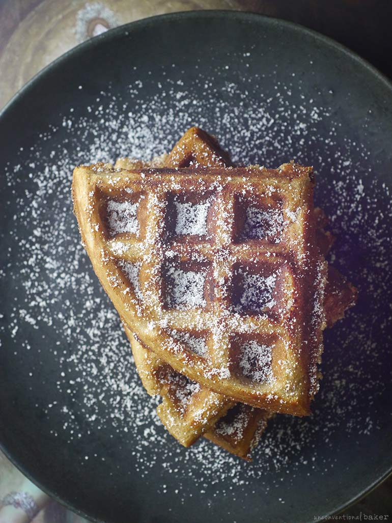dusted gluten-free vegan waffles