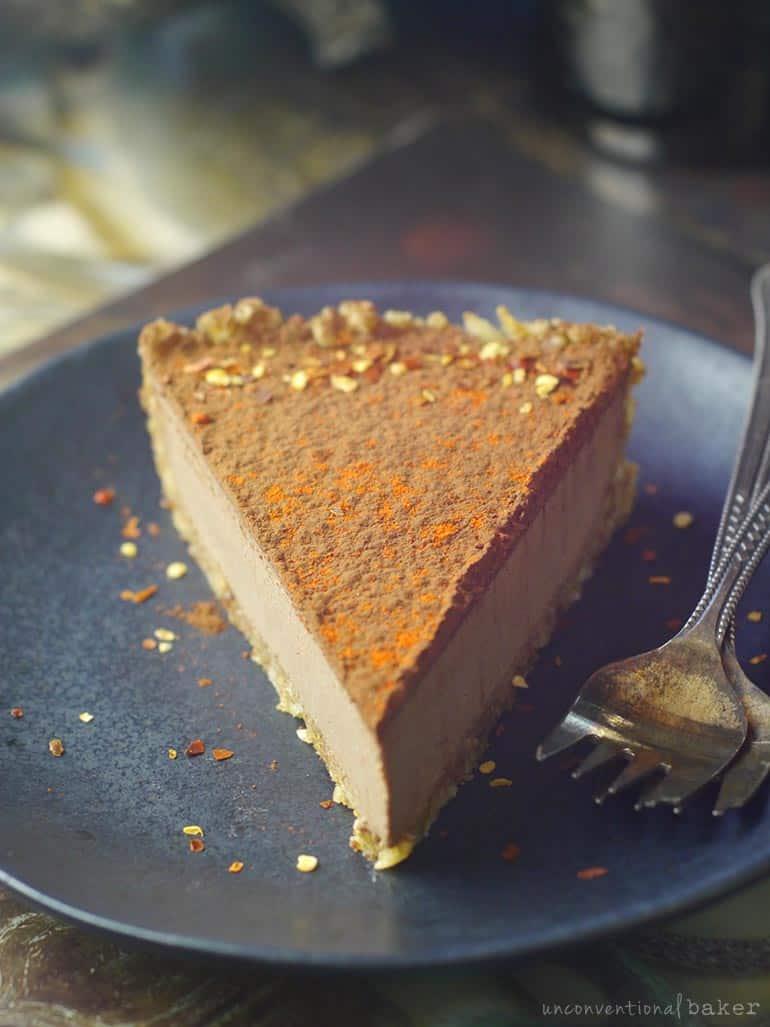 slice of vegan chili chocolate mousse tart