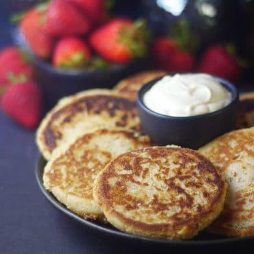 Vegan Syrniki (Cheese Pancakes) with vegan sour cream