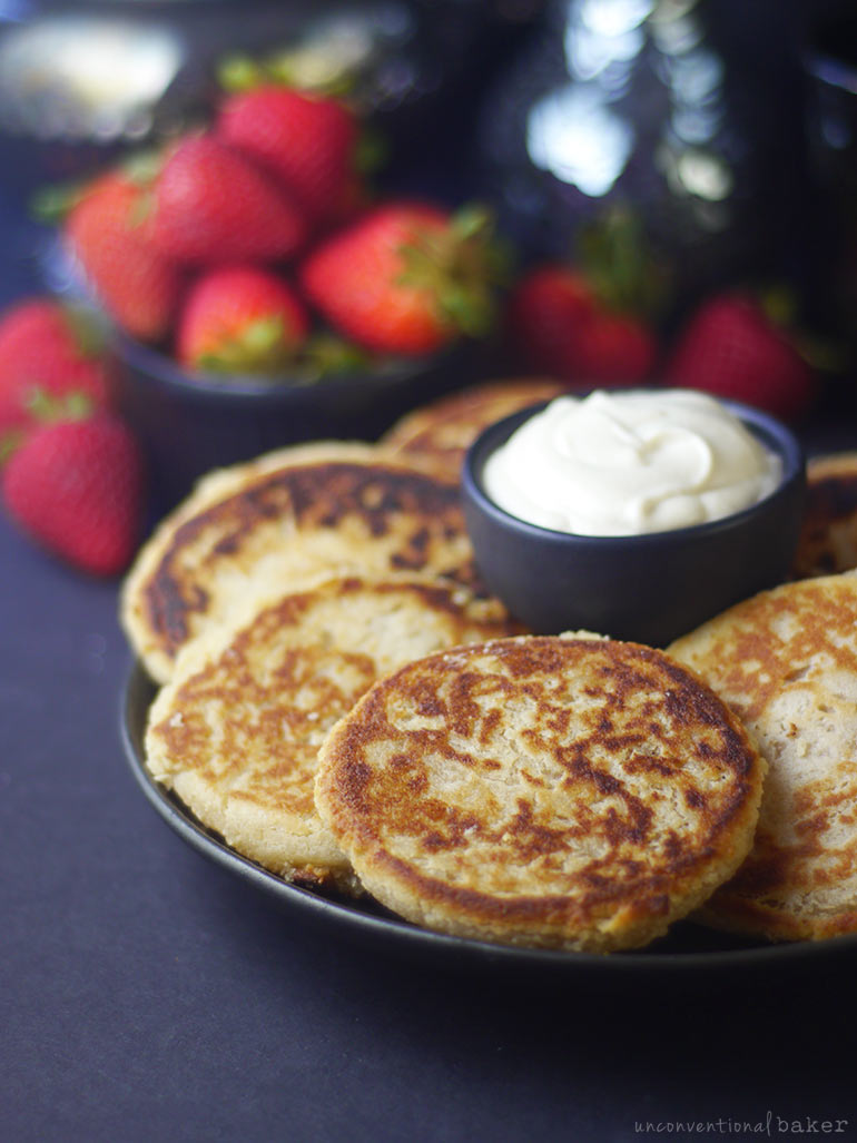 Vegan Syrniki (Cheese Pancakes) with vegan sour cream