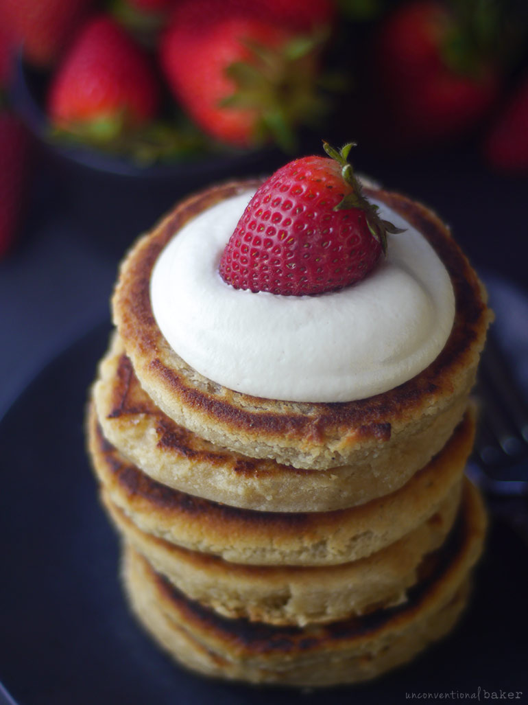 vegan syrniki recipe with cashew sour cream and strawberries
