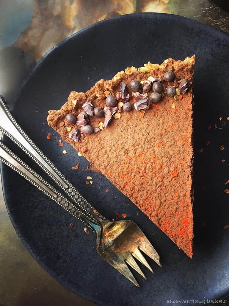 raw vegan chili chocolate tart slice