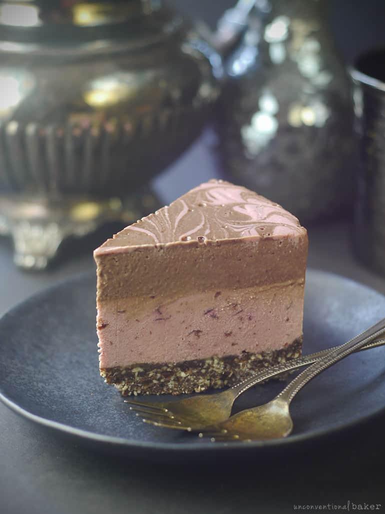 raw chocolate cherry vegan cheesecake slice