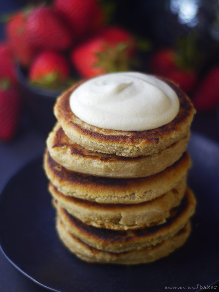 gluten-free vegan syrniki pancakes with vegan cashew sour cream