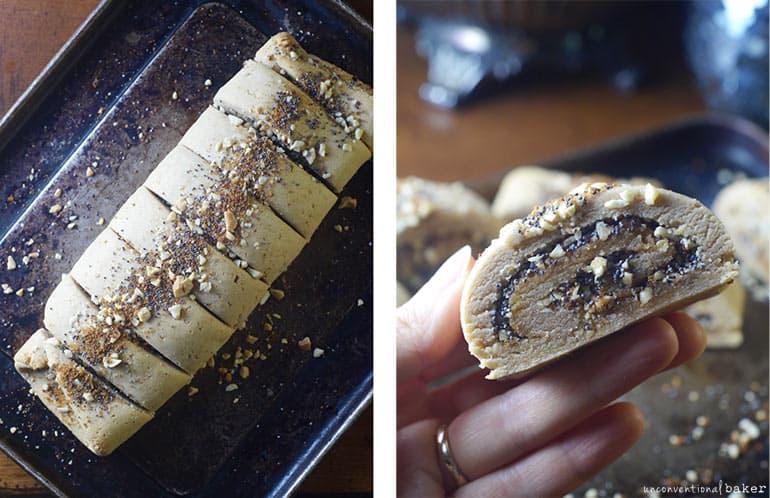 gluten-free vegan poppy seed cashew roll cookies