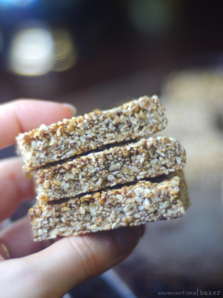 chia sesame seed snack bars (vegan and paleo)