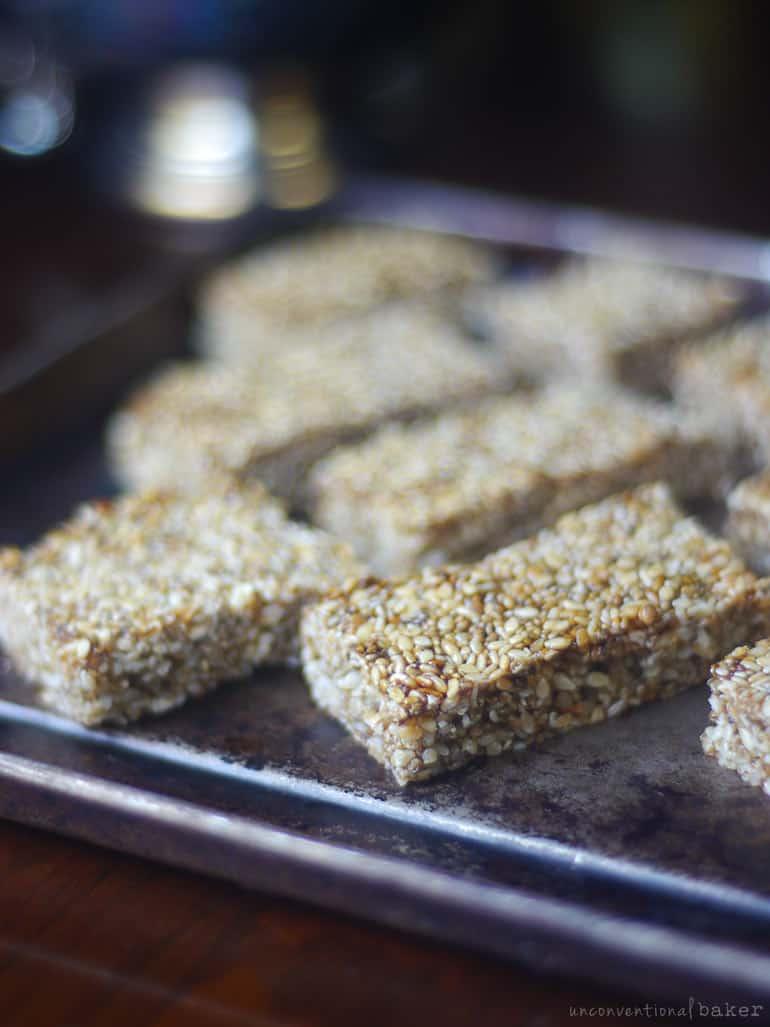 paleo vegan sesame seed and chia granola bars
