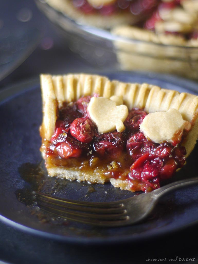 piece of gluen-free vegan cranberry pie