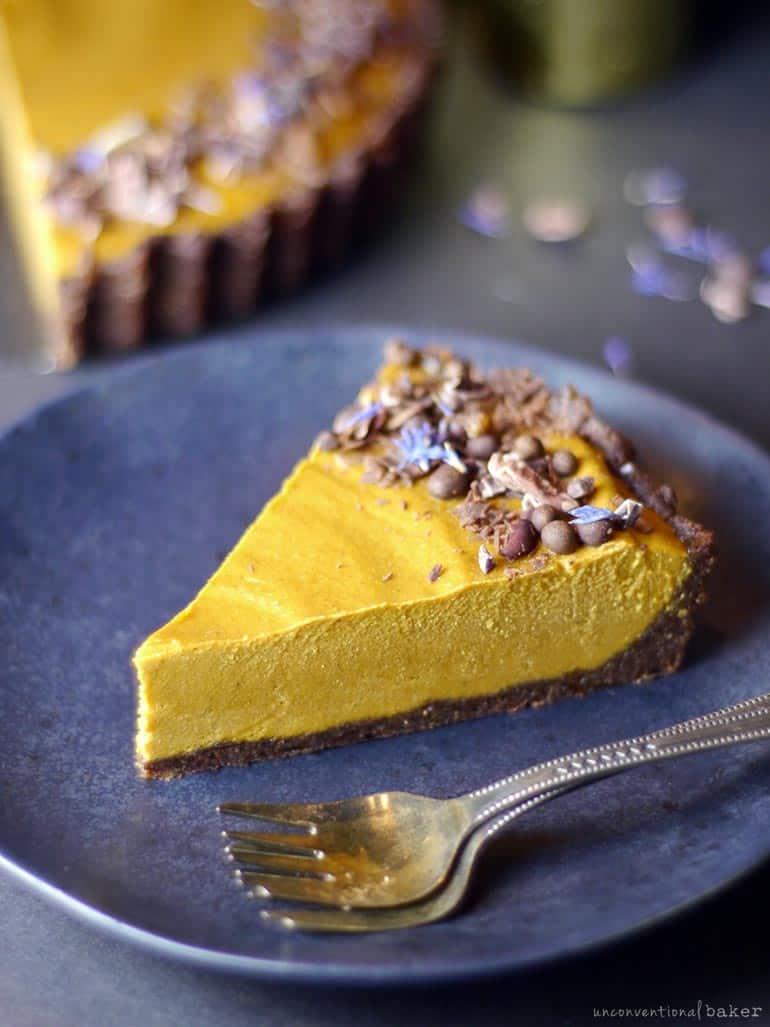 peanut butter pumpkin pie with a brownie crust(vegan gf grain-free)