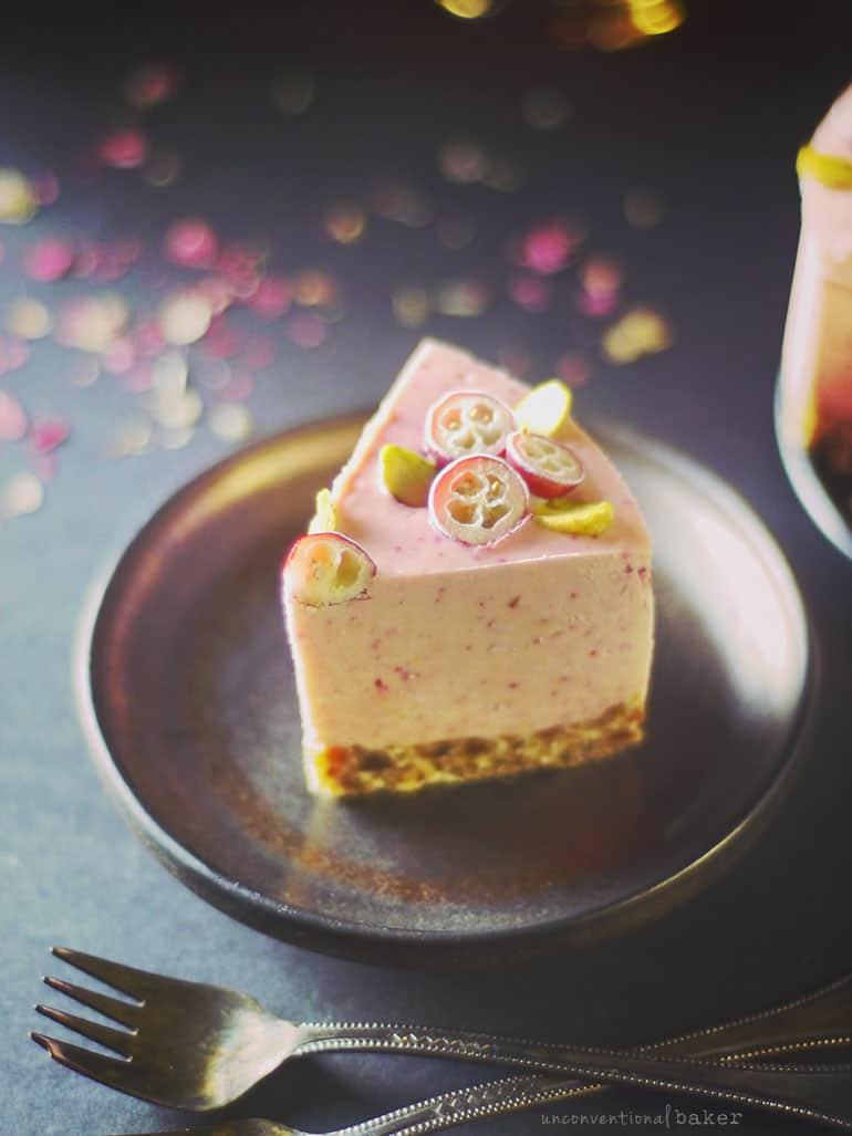 slice of cranberry orange vegan cheesecake