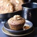 gf vegan oil-free applesauce muffins with walnuts