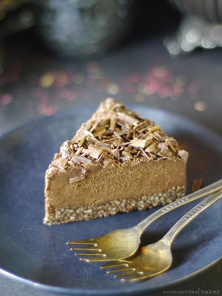 slice of no-bake chocolate espresso fudge cake (gluten-free vegan)