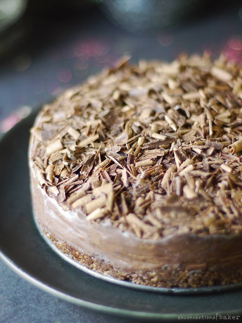 no-bake chocolate espresso fudge cake (gf, vegan, paleo)