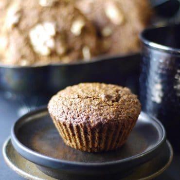 gluten-free vegan applesauce walnut muffins
