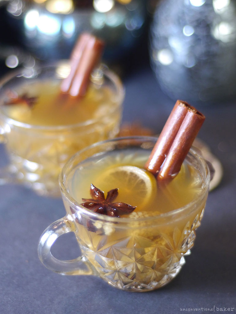 hot apple cider with cinnamon, anise, and citrus