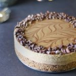 a raw vegan cheesecake with layers of chocolate espresso and salted caramel