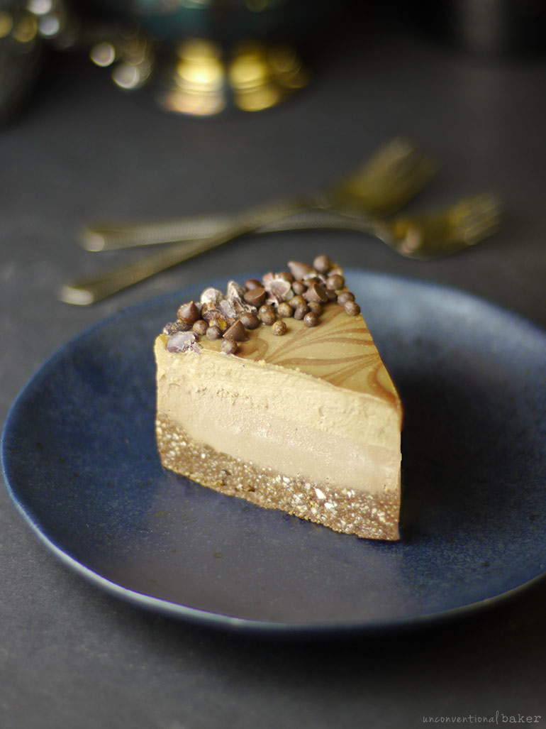vegan salted caramel espresso cheesecake