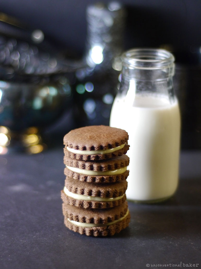 maple chocolate sandwich cookie stack (vegan, gluten-free, oil-free)
