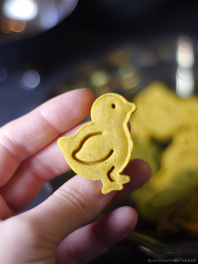 little bird shaped turmeric cookies