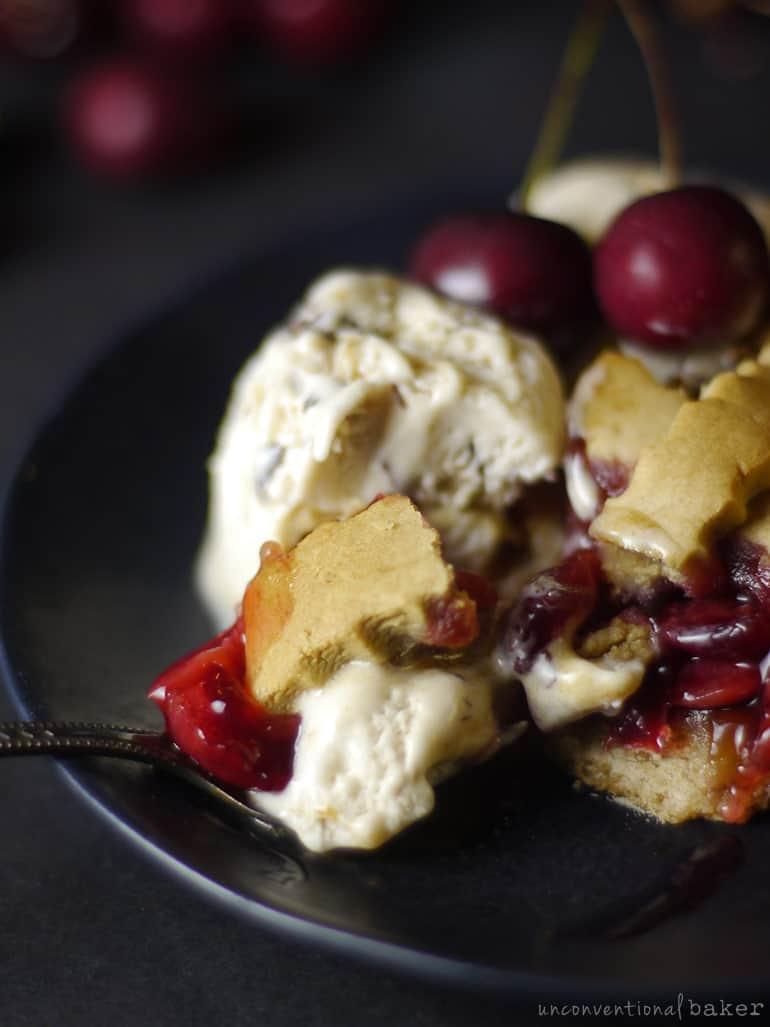 gf vegan cherry pie with vegan ice cream
