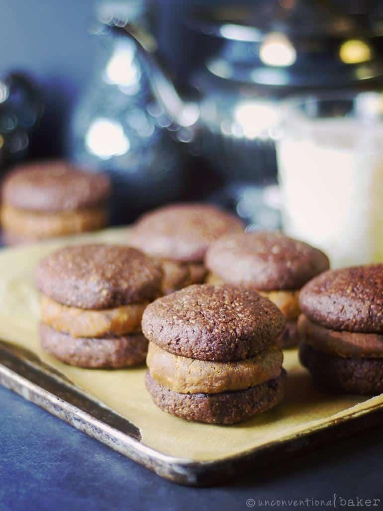 chocolate brownie peanut butter sandwich cookies
