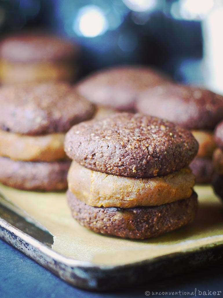 chocolate brownie peanut butter sandwich cookie